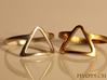 Dark Side Triangle Ring 3d printed L: Polished Silver R: Raw Bronze