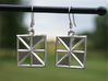 Square Alcove Earrings 3d printed Square Alcove Earrings in Raw Silver