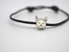 Cat Lover Friendship Bracelet Charm - Curious Cat 3d printed Just a little curious about that gossip. (Size XS)