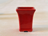 Square Bonsai-Style Shot Glass 3d printed Shown in Gloss Red glaze