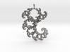 9cm Fractal lace, intricate spirals pendant 3d printed
