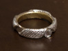 Ring T1A 3d printed Steel with leaf silver on outside bands, leaf gold on the inside, and a crystal