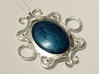 Oval stone pendant 3d printed Additional leaf silver, crystals, and stone painted with nailpolish