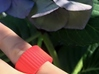"""Ingranaggi Band Ring 3d printed Red Strong & Flexible Plastic on a lilac """"ortensie"""" background"""