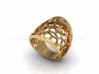 Domed Geometric Lattice Pattern Ring 3d printed Gold