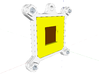 Socket 462/A CPU Bauble Single 3d printed The Rear of the assembled Bauble; the yellow block is a crude representation of the Pins.