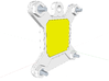 Socket S1 CPU Bauble Single 3d printed Rear of assembly in Sketchup; The yellow block represents the pins.
