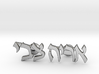 "Hebrew Name Cufflinks - ""Aryeh Tzvi"" 3d printed"