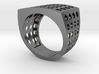 Chevalière Style Ring with Polka-Dots 3d printed
