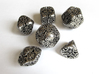 Art Nouveau Dice Set 3d printed In Polished Nickel Steel and inked