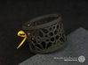 Set of 2 small napkin rings with Mosaic-3a 3d printed The photo shows an own print (FDM print) made of black wood incl. decorative lacing.