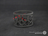 Set of 6 large napkin rings with Hearts 3d printed The photo shows a print made of black strong and flexible incl. red lacing.