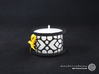 Small tealight holder with Mosaic-2 3d printed The photo shows a print made of black strong and flexible incl. yellow lacing and a high 8h tealight candle.