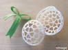 Customizable Christmas Ornament - Hearts 3d printed The bauble comes in two halves that snap together. The optional bow snaps into the top