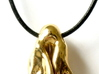 Cahn-Hilliard droplet pendant 3d printed Pendant printed in polished brass on leather cord -- rear