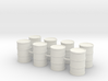 Round Oil Barrel Game Piece Set (8 Barrels) 3d printed