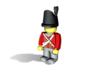 British Wellington Shako  3d printed Example figurine (British Infantry) wearing the hat in black Hi-Def Acrylate
