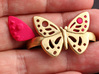 DOUBLE RING BUTTERFLY INSERTS 3d printed Double ring butterfly plastic inserts in pink.