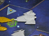 Robotic Dreadnought 3d printed A L1Z1X Dreadnought goes into battle against a Jol Nar fleet in a game of Twilight Imperium 3