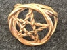 Pentacle ring - braided 3d printed Woven pentacle ring in raw bronze.