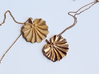 Seashell Fan Pendant 3d printed Polished Gold Steel Left, Polished Bronze Right