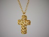 Organic Cross Pendant 3d printed Side View in Gold Plated Brass