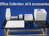 Office Collection 6-piece 1:12 scale accessories 3d printed White Strong & Flexible Polished