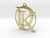 Initials D&K and circle monogram 3d printed