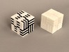 Puzzle Cube, Positive, (white) pieces 3d printed Black and white cube next to an all white cube