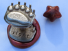 Teddybear clawed-paw wax seal 3d printed stamping into molten wax, with a  large (0.5g)  wax bead