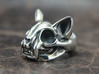 Cat Skull Ring 3d printed This material is Polished Silver , Patinated with bleach