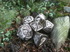 Tengwar Elvish D4 3d printed Complete Set Printed in Polished Nickel Steel