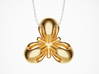 Trefoil Pendant 3d printed Polished Brass