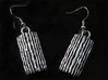Groovy Bend earrings 3d printed Black PA12 with silver leaf, similar look to Antique Silver (render orientation error, so this image instead)