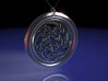 Hangarite Pendant ~ version 3 - 35mm diameter 3d printed 3DS Max raytraced render simulating antique silver material