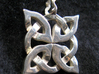 4 Clover Knot - Pendant 3d printed Back view. Actual Product Image. Shown in polished silver.