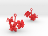 Amaryllis earring with three large flowers 3d printed