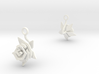 Rose earring with one large flower I 3d printed