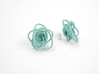 Sprouted Spirals Earrings (Studs) 3d printed Custom Dyed Color (Teal)