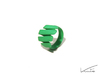 Curl ring 4 parallel lines // US8 - LARGE 3d printed Green Strong & Flexible