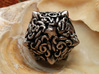 Cthulhu D20  3d printed Polished Nickel Steel, Inked
