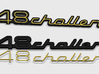 348 CHALLENGE BADGE 3d printed 348 Challenge badge for the rear deck lid, with yellow plastic groove inserts, render.