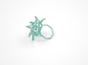 Aster Ring (Small) Size 9 3d printed Teal Nylon (Custom Dyed Color)