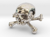 35mm 1.4in Bead Skull & Bones Pendant Crane 3d printed
