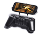 PS3 controller & Lava Iris 504q 3d printed Front View - A Samsung Galaxy S3 and a black PS3 controller