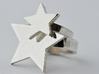 Silver Star Ring (large star) size 6 3d printed The larger ring in the photo