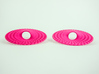 Curvy Hoop Earrings 50mm 3d printed Curvy Hoop Earrings 50mm printen in Pink Strong & Flexible, side view.