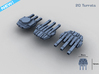 20 Starship triple turrets – MECHWORLD HOMEFLEET 3d printed Turret Rendering