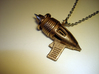 Ray Gun Pendant 3d printed Stainless steel - Photo of an actual printed item (chain not included)