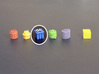 Crate tokens (13 pcs) 3d printed White Stong Flexible token, painted. Other tokens and 8mm cube for scale.